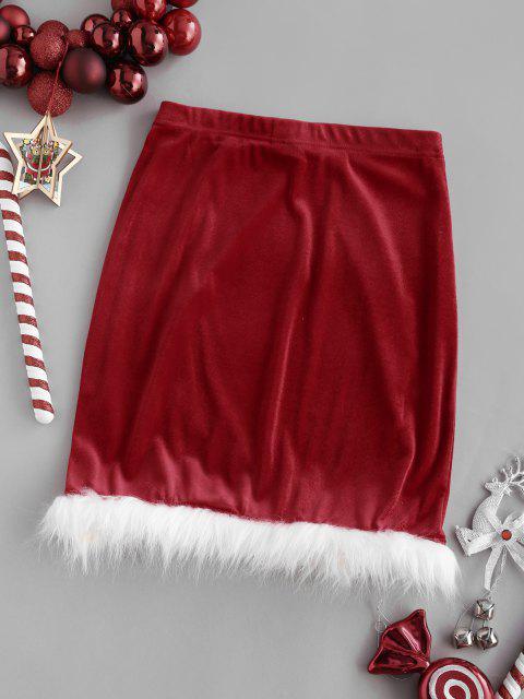 outfits Christmas Faux Fur Insert Velvet Slit Skirt - RED M Mobile
