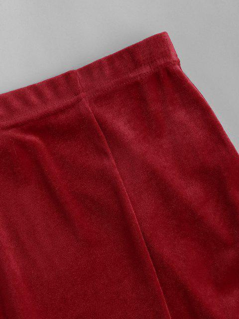 best Christmas Faux Fur Insert Velvet Slit Skirt - RED L Mobile