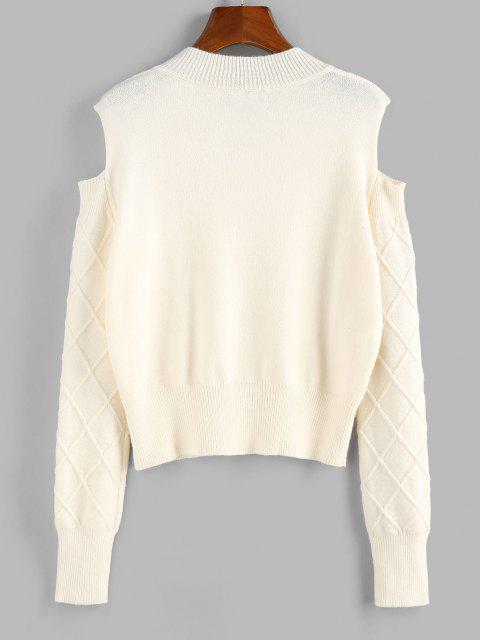 chic ZAFUL Cold Shoulder Rhombus Cable Knit Jumper Sweater - LIGHT COFFEE S Mobile