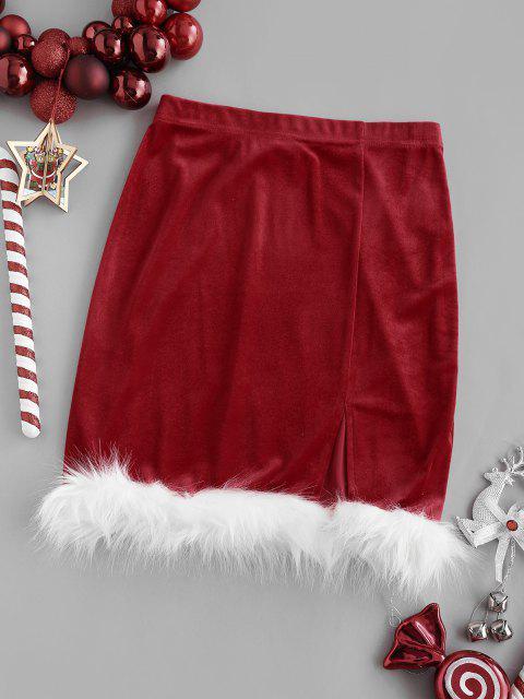 chic Christmas Faux Fur Insert Velvet Slit Skirt - RED XS Mobile