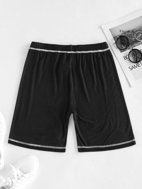 shops ZAFUL Topstitching High Waisted Biker Shorts - BLACK L Mobile
