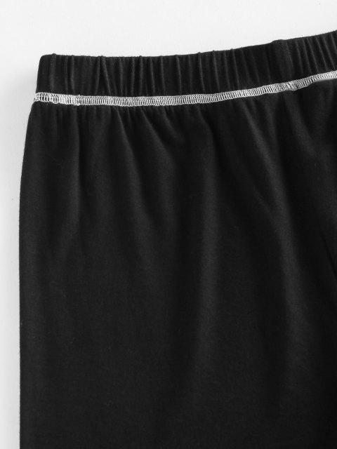 trendy ZAFUL Topstitching High Waisted Biker Shorts - BLACK S Mobile