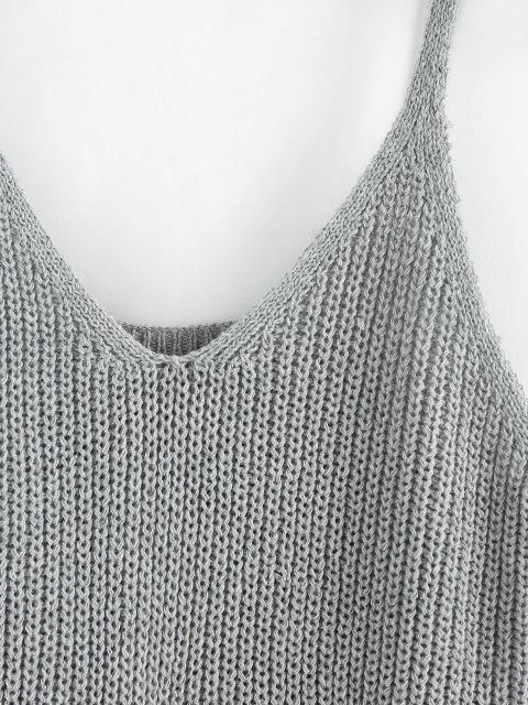 buy ZAFUL Twisted Plunging Sweater Tank Top - GRAY M Mobile