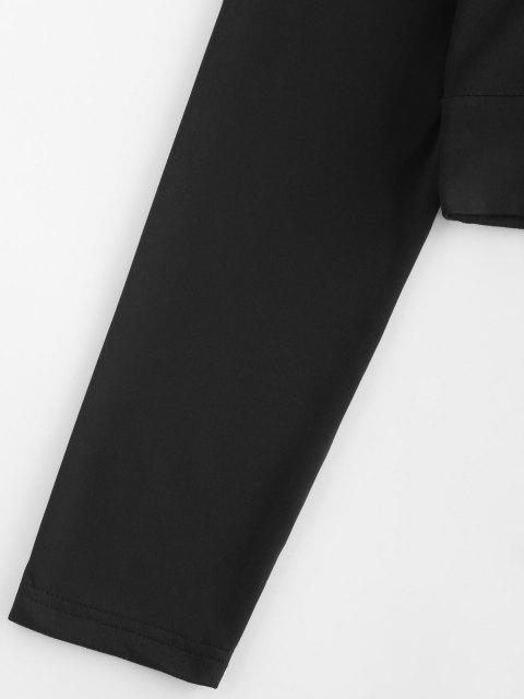ZAFUL Camiseta Corta de Recorte de Manga Larga - Negro S Mobile