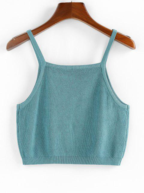 ZAFUL Knitted Plain Crop Tank Top - أزرق L Mobile
