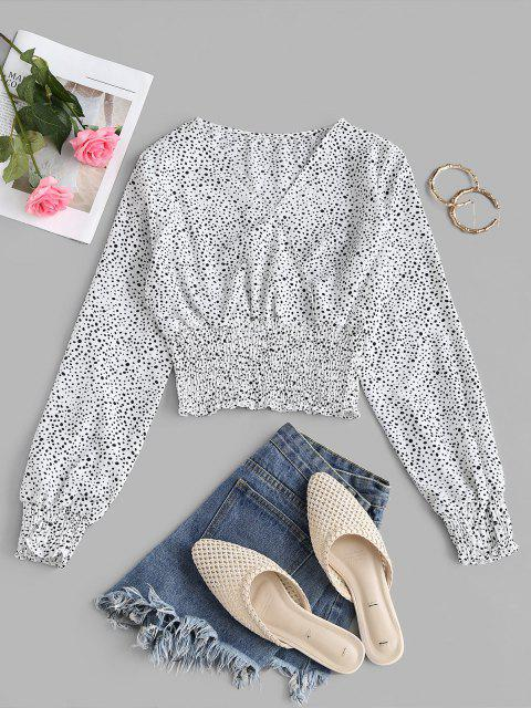 lady Spotted Print Smocked Panel Surplice Blouse - WHITE M Mobile