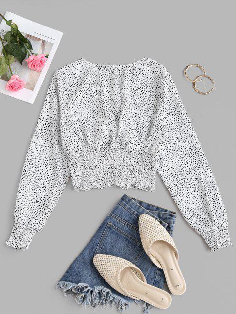 Blusa Plisada de Escote con Estampado de Panel de Esponjoso - Blanco L Mobile