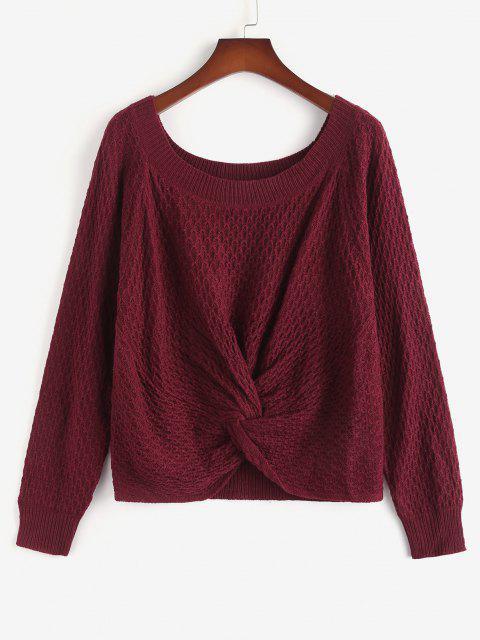 women ZAFUL Plus Size Twist Front Raglan Sleeve Sweater - DEEP RED 2XL Mobile