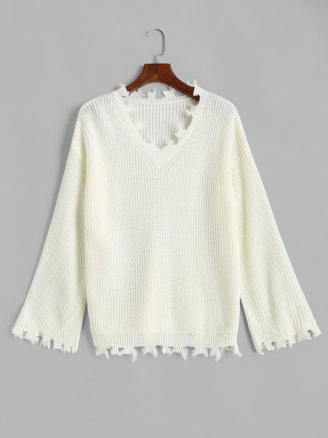 ladies ZAFUL V Neck Frayed Ripped Plus Size Sweater - WHITE L Mobile