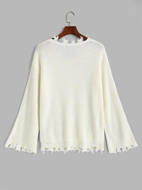 best ZAFUL V Neck Frayed Ripped Plus Size Sweater - WHITE 2XL Mobile
