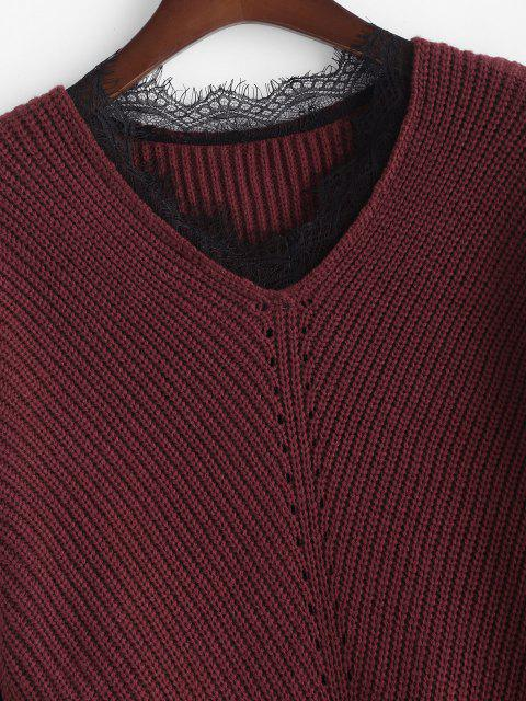 latest ZAFUL Plus Size V Neck Lace Trim Sweater - DEEP RED L Mobile