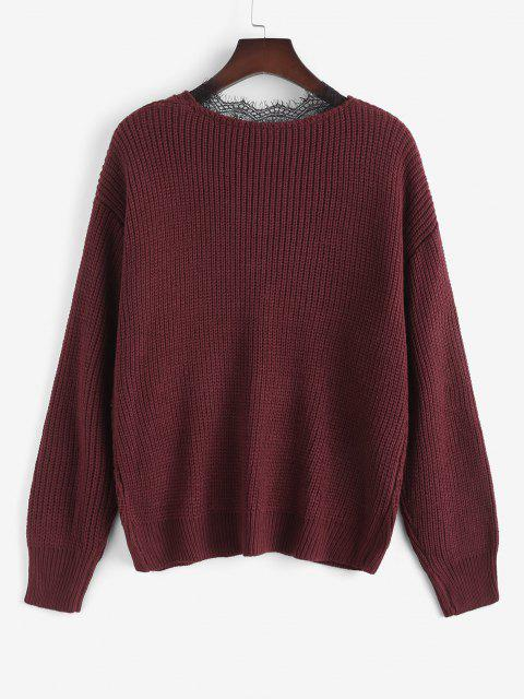 chic ZAFUL Plus Size V Neck Lace Trim Sweater - DEEP RED 3XL Mobile