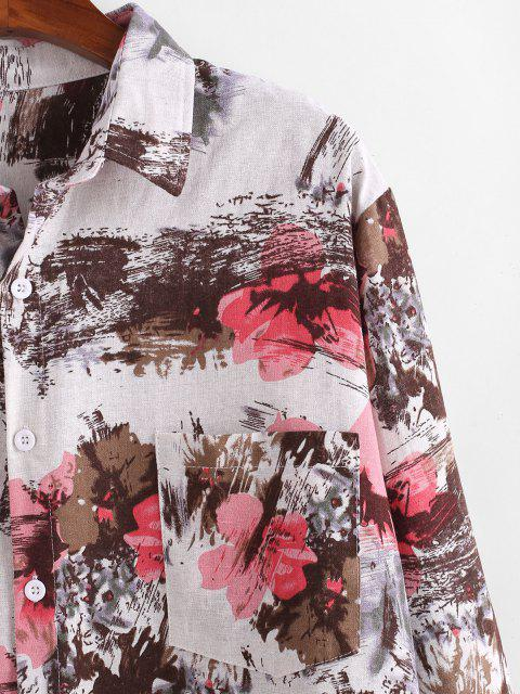 ladies Flower Ink Painting Print Pocket Shirt - MULTI L Mobile