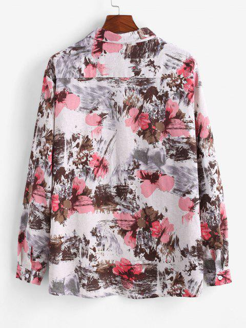 Flower Ink Painting Print Pocket Shirt - متعدد 3XL Mobile