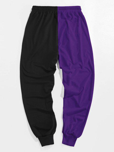 ZAFUL Pantalones Deportivos de Dos Colores con Estampado de Dibujo Animado - Flor de Lirio Morado M Mobile