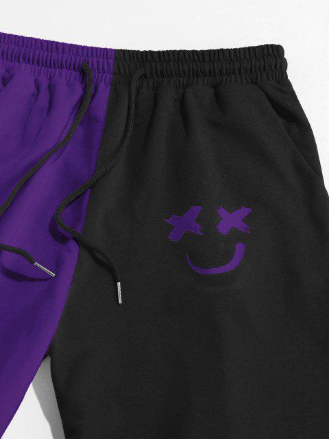 ZAFUL Pantalones Deportivos de Dos Colores con Estampado de Dibujo Animado - Flor de Lirio Morado XL Mobile