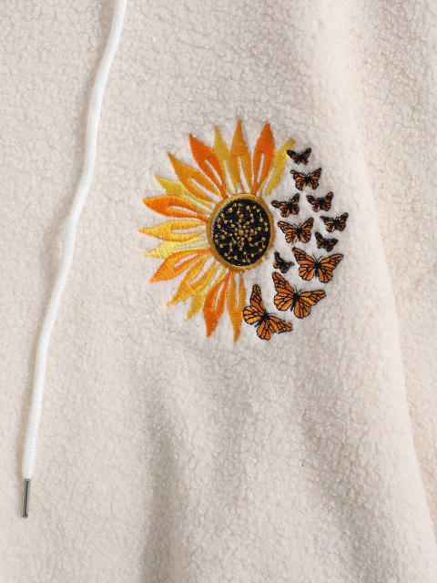 online Flower Butterfly Embroidered Faux Shearling Hoodie - WHITE XL Mobile