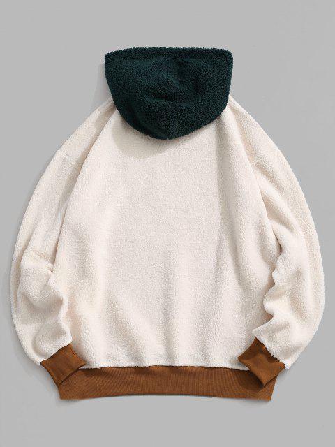 Moletom Bordado Borboleta do Shearling do Falso - Branco S Mobile