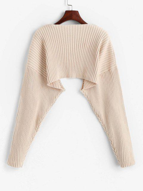 new Solid Ribbed Shrug Cardiagn - LIGHT COFFEE S Mobile