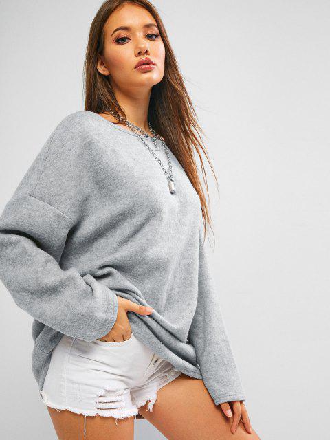 ZAFUL Camisola de Lã Oversized com Recorte Torcido - Cinza claro S Mobile
