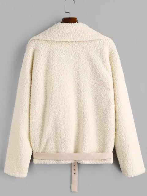 chic ZAFUL Faux Fur Suede Panel Teddy Coat - WARM WHITE S Mobile