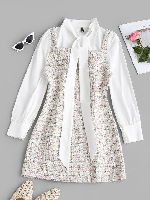 unique Plaid Pussy Bow Tweed Combo Dress - LIGHT PINK XL Mobile