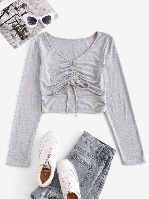 trendy Cinched Cutout Crop Long Sleeve Tee - GRAY L Mobile