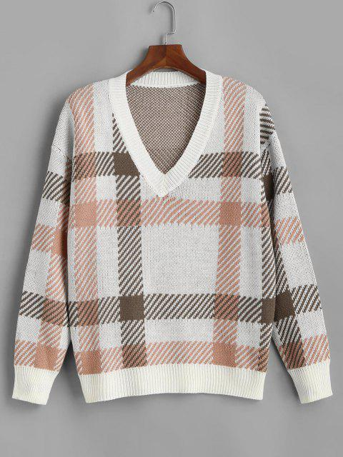 sale ZAFUL V Neck Ribbed Trim Plaid Plus Size Sweater - WHITE L Mobile