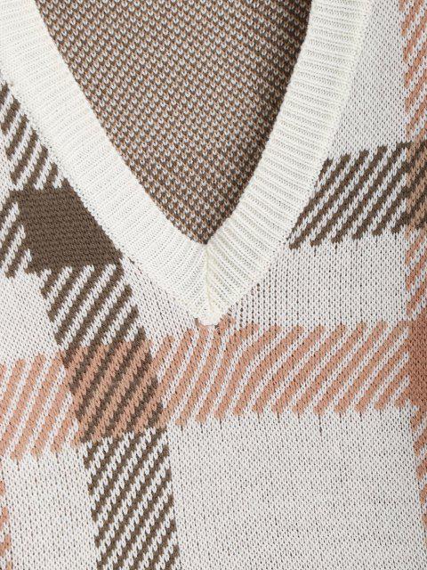 womens ZAFUL V Neck Ribbed Trim Plaid Plus Size Sweater - WHITE 3XL Mobile