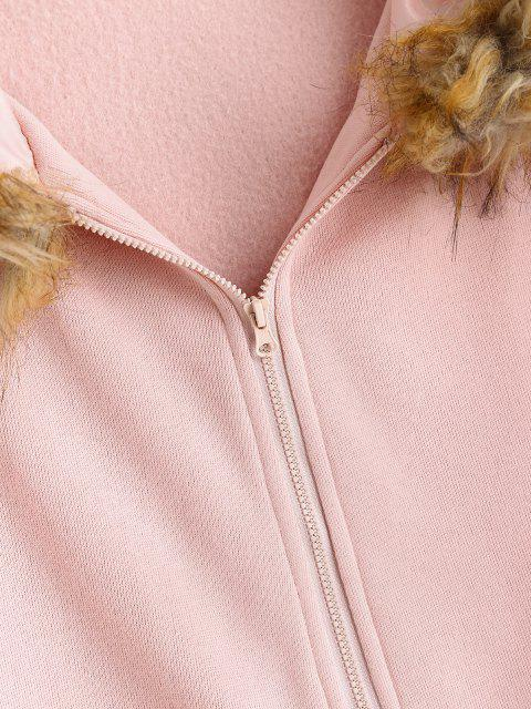 new ZAFUL Zip Up Pockets Fur Collar Plus Size Hoodie - LIGHT PINK L Mobile