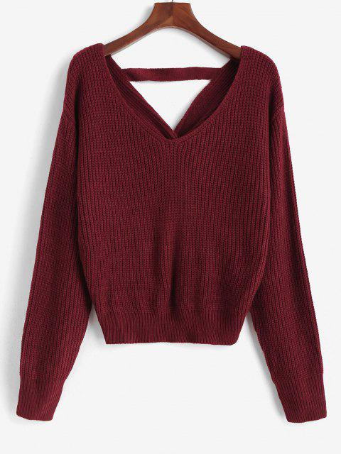 ladies ZAFUL V Neck Faux Pearls Twisted Back Plus Size Sweater - RED 3XL Mobile