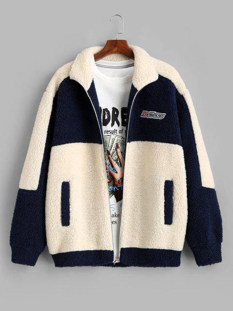 hot Colorblock Believe Patch Teddy Jacket - BLUE XL Mobile