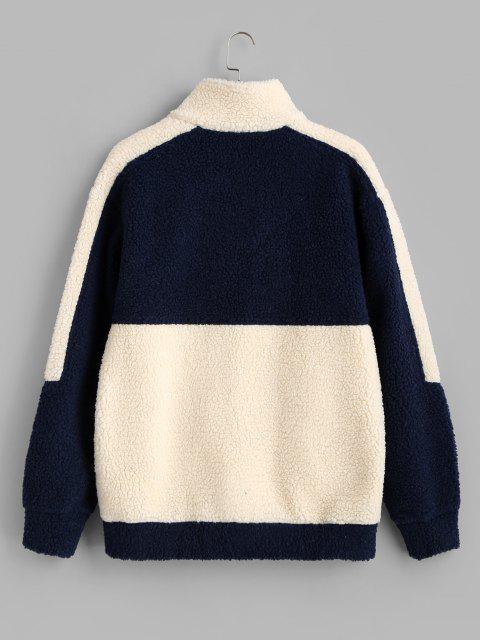 women Colorblock Believe Patch Teddy Jacket - BLUE L Mobile