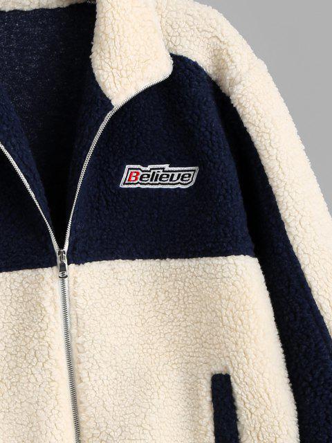 hot Colorblock Believe Patch Teddy Jacket - BLUE 2XL Mobile