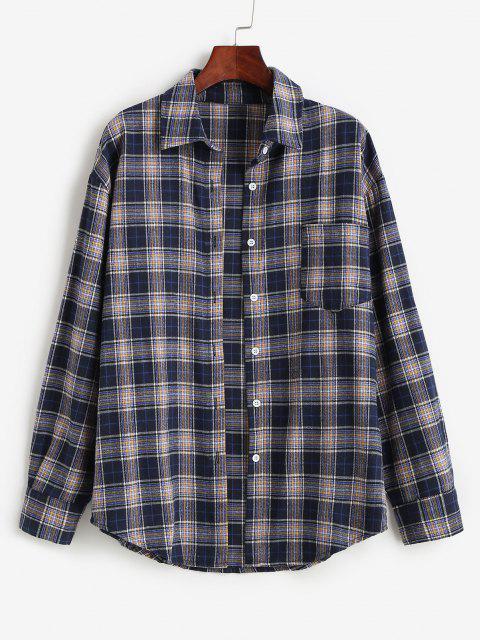Plaid Pocket Boyfriend Shirt - داكن سليت أزرق L Mobile