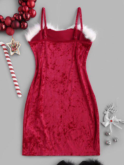 affordable Christmas Faux Fur Insert Velvet Slit Bodycon Dress - RED XS Mobile