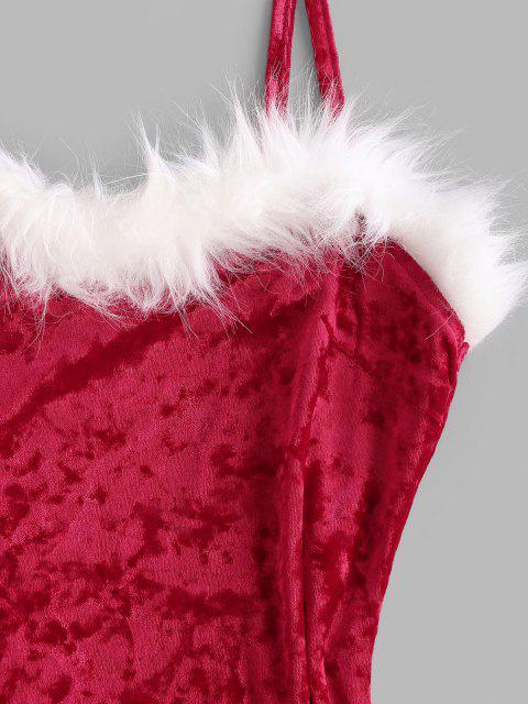 ladies Christmas Faux Fur Insert Velvet Slit Bodycon Dress - RED L Mobile