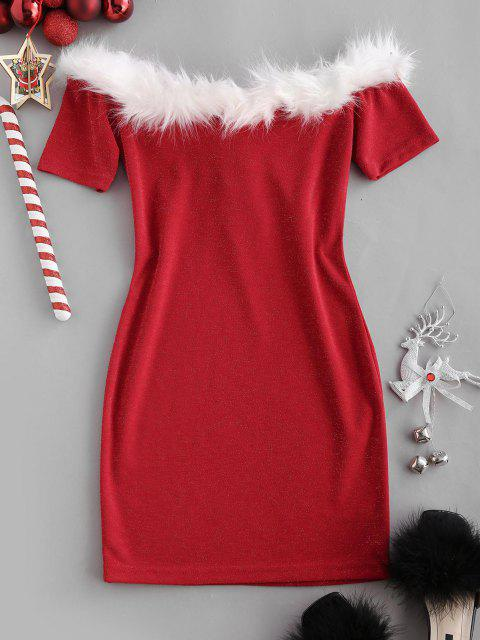 new Christmas Faux Fur Insert Metallic Thread Lace Up Dress - RED L Mobile