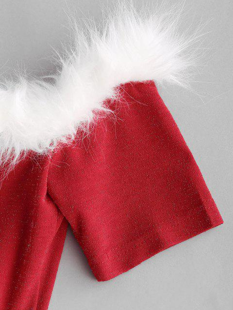 unique Christmas Faux Fur Insert Metallic Thread Lace Up Dress - RED XL Mobile