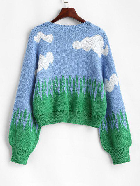 Rundhalsausschnitt Laterne Ärmel Wolken Pullover - Blau M Mobile