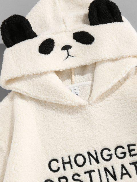 new ZAFUL Letter Embroidered Faux Shearling Panda Hoodie - WHITE S Mobile