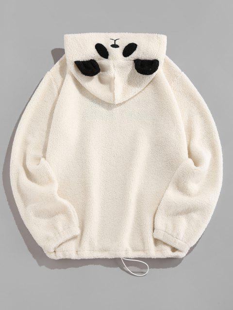 ZAFUL Carta Bordado Panda Falso Shearling Moletom - Branco 2XL Mobile