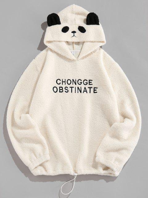 shop ZAFUL Letter Embroidered Faux Shearling Panda Hoodie - WHITE 2XL Mobile