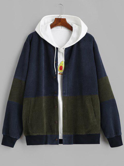 fashion Button Up Contrast Corduroy Jacket - DEEP BLUE L Mobile