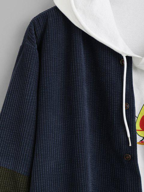 Veste Boutonnée Contrastée en Velours Côtelé - Bleu profond S Mobile