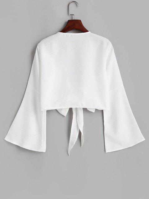 women's Tie Front Bell Sleeve Crop Cover-up - WHITE M Mobile