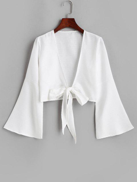 ladies Tie Front Bell Sleeve Crop Cover-up - WHITE L Mobile
