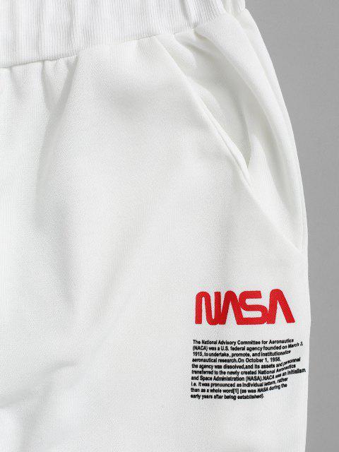Pantalones Jogger con Estampado de Letras - Blanco S Mobile