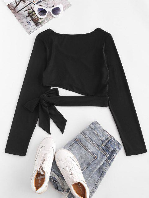 outfit ZAFUL Cutout Tie Long Sleeve Crop Tee - BLACK M Mobile