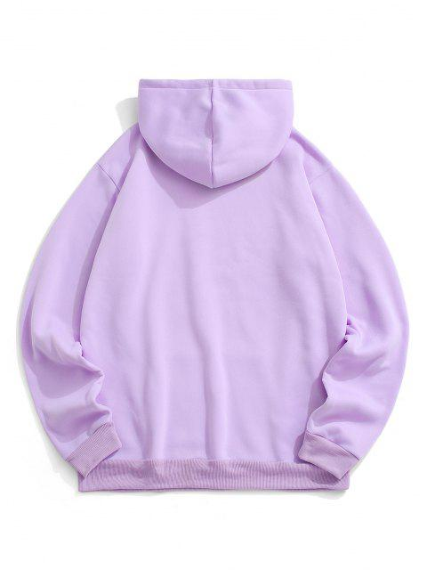 sale Chinese Character Print Flocking Drawstring Hoodie - LIGHT PURPLE S Mobile